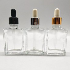 30ml Transparent Square Glass Cosmetic Serum Dropper Bottle With Dispensing Twist Childproof Cap