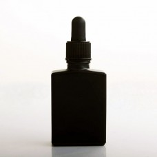 30ml Matte Black Square Glass Essential Oil Perfume Bottle With Dropper Lid