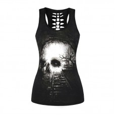 Digital Skull Printing Halloween Women Costume Stretchy Sleeveless Tees Leisure Sports Hollow Out Halter Vest