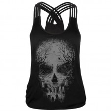 Womens Comfort Skull Print Sexy Sling Lace Sports Vest