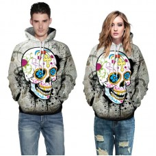 Unisex Halloween Costume Digital Skull Printed Drawstring Pockets Hoodie Sweatshirts