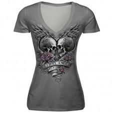 Women's Slim Skull Digital Printing T-shirt Short-Sleeved Breathable V-neck Tee