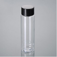 Cosmetic Packaging Square Shoulder PET Bottle With New Thicker PP Screw Cap And Orifice Reducer Insert