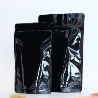 Food Grade Smell Leak Proof Storage Packaging Stand Up Zipper Heat Sealable Airtight Glossy Aluminum Foil Bags