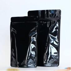 Black White And Silver Food Grade Stand Up Zipper Self-sealing Glossy Aluminum Foil Bag