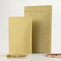 Airtight Zip Lock Brown Kraft Paper Stand Up Pouch Bags Lined Aluminum Foil For Food Coffee Herb Powder Storage