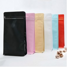 Stand Up Resealable Gusset Side Seal Zipper Matte Lamination Aluminum Foil Coffee Bag With Degassing Valve
