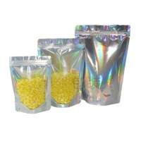 Hot Selling Zipper Stand Up One Side Clear One Side Holographic Pouch