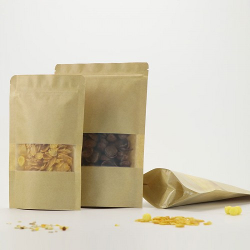 Stand Up Pouches Brown Kraft Food Packaging Paper Bags With Window