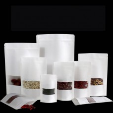 Hot Selling White Kraft Paper Stand Up Pouches Zip Lock Bags  With Window