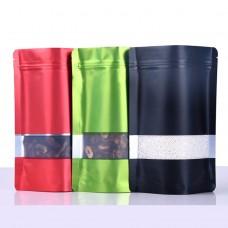 Colorful Matt Pouch Stand Up Zip lock Aluminum Foil Tea Packaging Bags With Matte Window