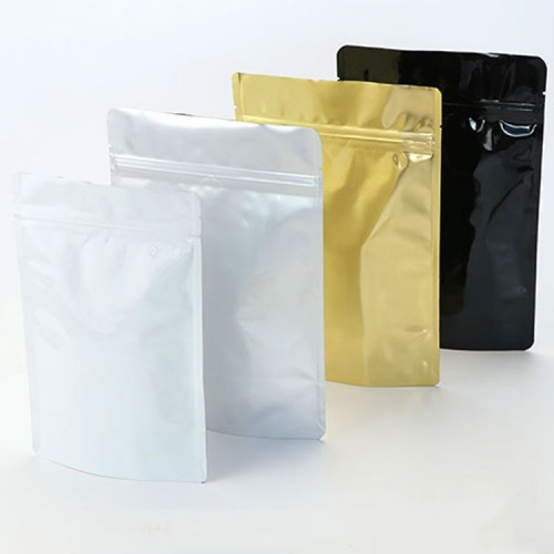 Glossy Gold And Silver Aluminum Foil Stand Up Barrier Pouches Wholesale