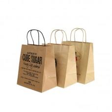 Custom Printed Flat Bottom Kraft Paper Shopping Bag