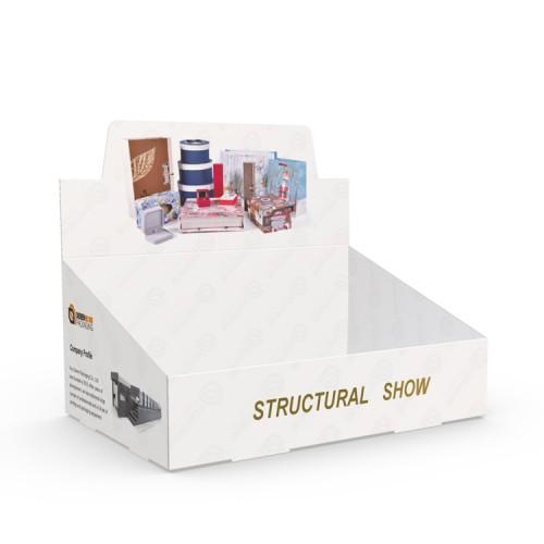 Hot Stamping Gold Logo Printed Cardboard Display Box Promotional Packaging PDQ Display Box