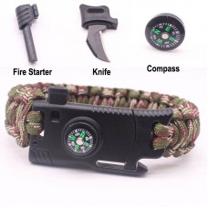 5 In 1 Paracord Survival Bracelet With Flint Fire Starter, Scraper, Compass, Whistle And Rescue Rope