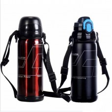 Double Wall Metal Sport Water Bottle With Two Caps