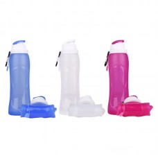 Food Grade Silicone Foldable Travel Water Bottle With Carabiner