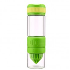 Durable Double Wall Glass Fruit Infuser Water Bottle