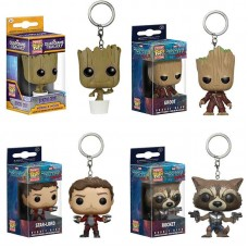 Funko Pocket POP Keychain Marvel Movies Guardians of the Galaxy 2 Star-Lord, Rocket, Groot And Dancing Baby Groot