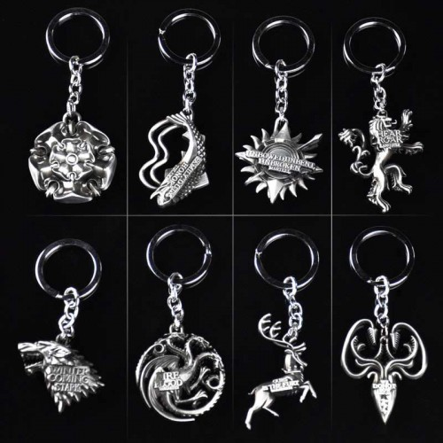 Game Of Thrones Keychains Pendants Charms House Sigil: Stark Direwolf, Lannister, Targaryen Dragon, Baratheon, Arryn, Tully, Greyjoy, Tyrell, Martell