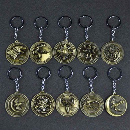 Metal Game Of Thrones Key Chains Family Tag House Badge Totem: Stark Direwolf, Lannister, Targaryen Dragon, Baratheon, Arryn, Tully, Greyjoy, Tyrell, Martell