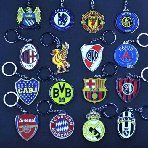 Football Club Soccer Team Logo Metal Pendant Keychains -- Real Madrid, Barcelona, Manchester City, Manchester United, Paris Saint-Germain, FC Bayern Munchen, Juventus FC, ect