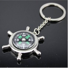 Portable Alloy Silver Nautical Compass Keychain