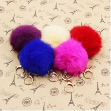 Bag Decoration Accessories Gift For Women Faux Fur Ball Keychain