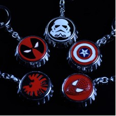 Marvel Avengers Metal Bottle Opener Cap Keychain - Captain America, Deadpool, Spider-man, Star Wars And Shield