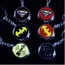 DC Justice League Metal Bottle Opener Cap Keychain - Superman, Batman, X-men