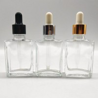30ml 1oz Square Clear Glass Dropper Bottles Wholesale For Cosmetic Serum Oil