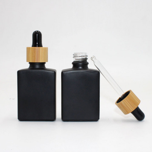 Square Black Glass Dropper Bottles WIth Bamboo Wooden Lid Wholesale