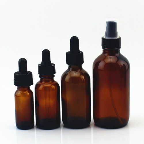 Hot Selling 15ml 30ml 60ml 120ml Amber Boston Round Glass Bottles Wholesale