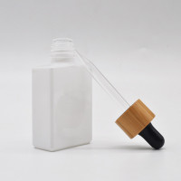 30ML Square White Glass Dropper Bottles WIth Bamboo Wooden Lid Wholesale