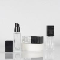 Liquid Foundation Bottle Clear Glass Square Bottles Wih Lotion Pump 15ml, 30ml, 40ml
