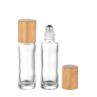 Premium Clear Glass Essential Oil Roller Bottles With Bamboo lid Wholesale 5ml, 10ml