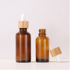 Brown Glass Dropper Bottles Wih Bamboo Lid 5ml, 10ml, 15ml, 20ml, 30ml, 50ml, 100ml