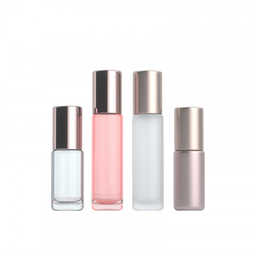 Rose Gold Oil Roller Bottles For Cosmetic Serum Wholesale Custom Logo Printing