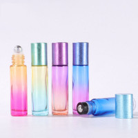 Gradient Colour Oil Roller Bottles With Drawing Metallic Cap 10ML
