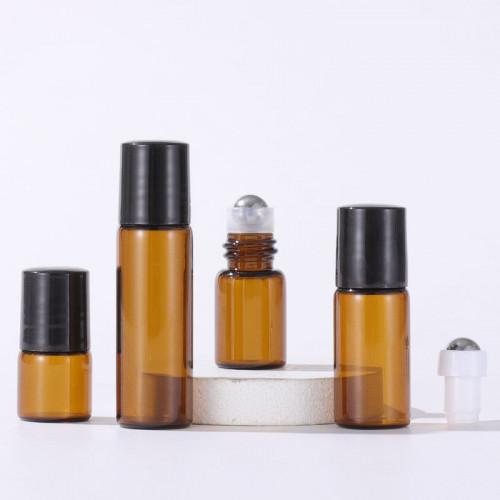 Small Brown Glass Essential Oil Roller Bottles Wholesale 1ml 2ml 3ml 5ml