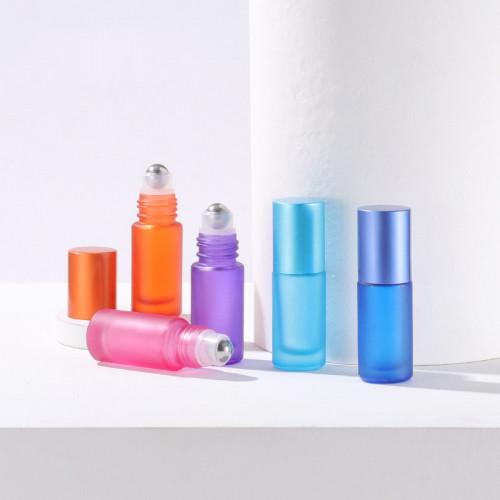 Matte Colourful Glass Oil Roller Bottles Wholesale Frosted Red, Orange, Yellow, Green, Pink, Cyan, Blue, Purple, Black 5ml