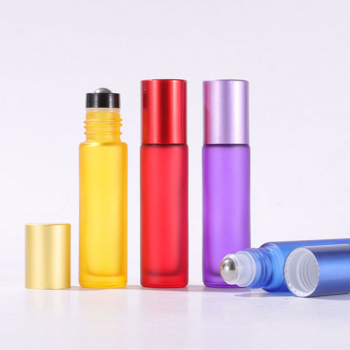 Forsted Colourful Glass Oil Roller Bottles Wholesale Matte Red, Orange, Yellow, Green, Pink, Cyan, Blue, Purple, Black 10ml