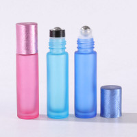 Forsted Colourful Glass Oil Roller Bottles  With Drawing Metallic Cap Red, Orange, Yellow, Green, Pink, Cyan, Blue, Purple, Black 10ml
