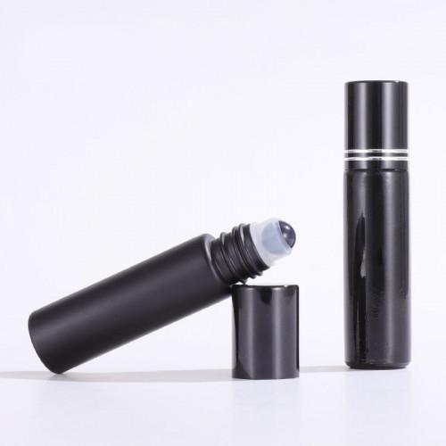 Glossy and Matte Black Glass Oil Roller Bottles Wholesale 10ml