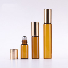 Brown Glass Oil Roller Bottles With Gold Lid Wholesale 3ml 5ml 10ml