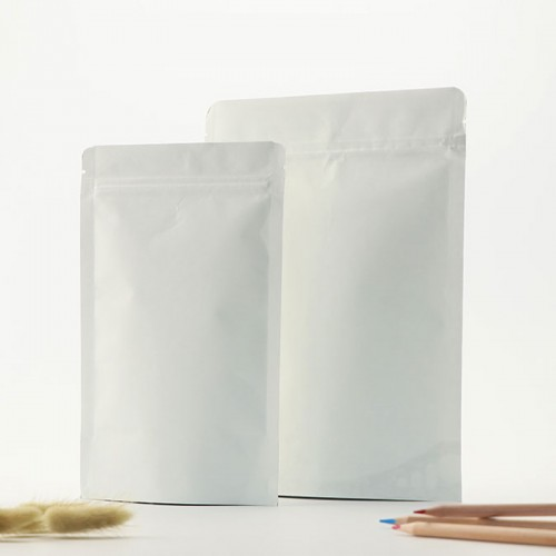 Food Grade Aluminum Foil Zip Lock Self-sealing White Kraft Stand Up Pouch