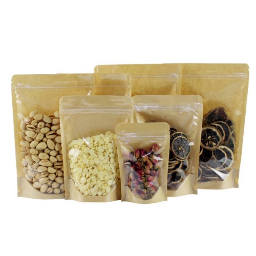 Clear Front Kraft Stand Up Pouch Wholesale
