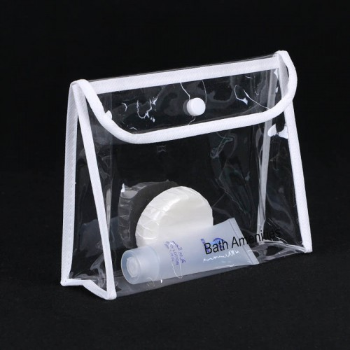 Cosmetic Clear PVC Plastic Bag With Snap Button
